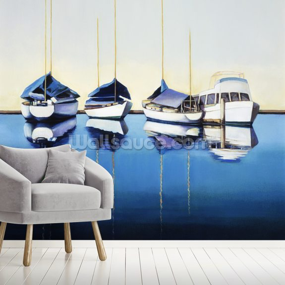 Yacht Harbor, Sailboats Docked In Harbor mural wallpaper room setting
