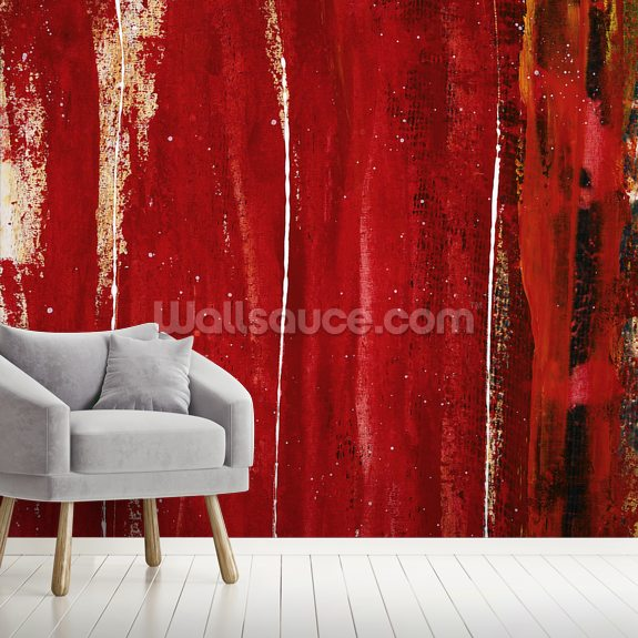 Red Study 1 - Abstract Painting In Red wall mural room setting