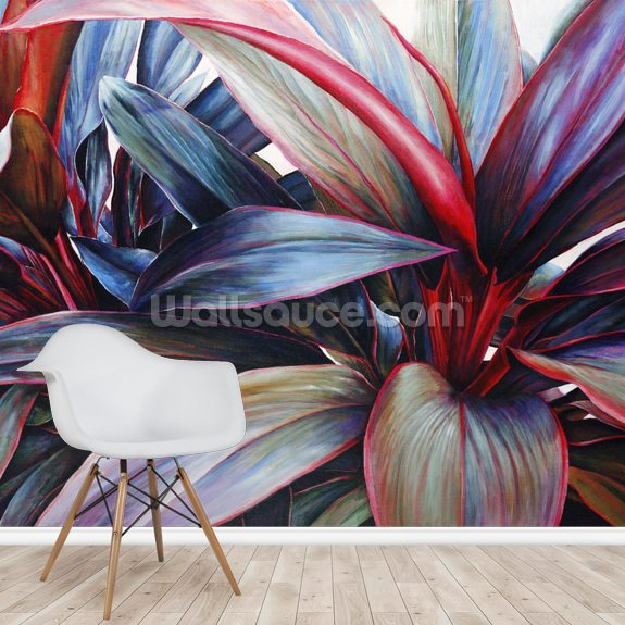 Ti In Blue, Colorful Ti-Leaf Plants mural wallpaper room setting
