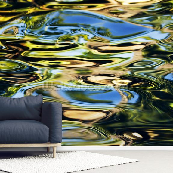 Abstract View Of Colorful Reflections On Calm Water wallpaper mural room setting