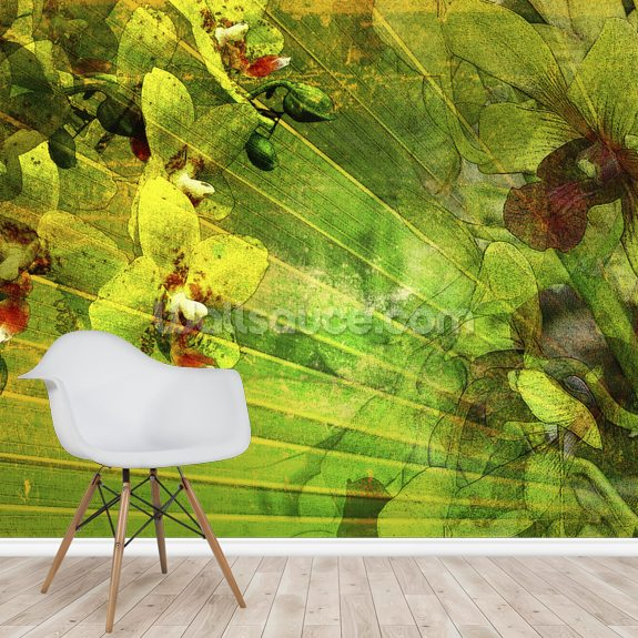 Allure 2, Collage Of Palm Leaf And Orchids mural wallpaper room setting