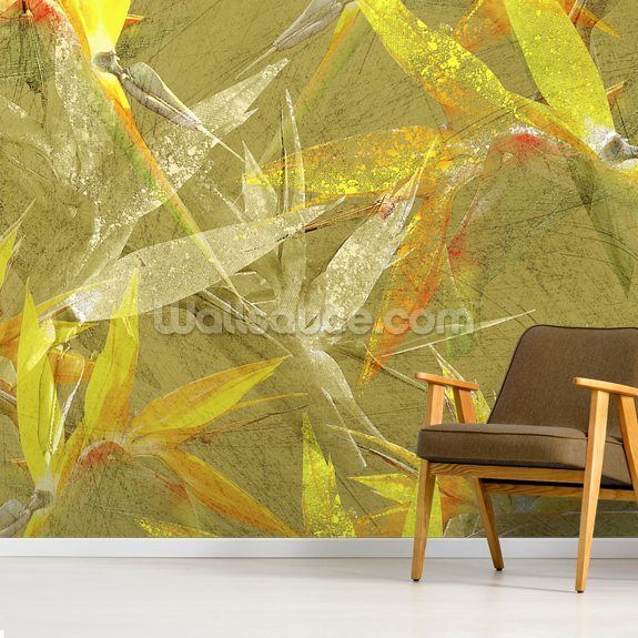 Collage Of Bird Of Paradise Blossoms mural wallpaper room setting
