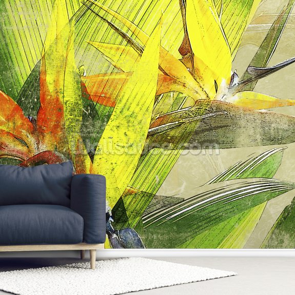 Bird Of Paradise Blossoms mural wallpaper room setting