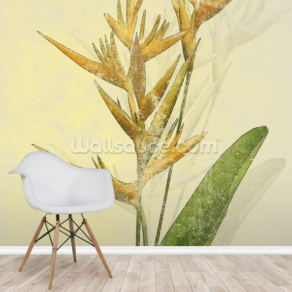 Heliconia Flowers On Stem mural wallpaper room setting