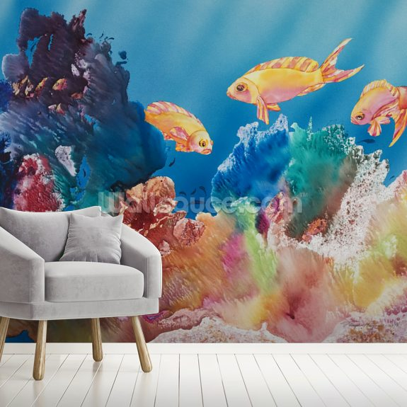All Dressed Up - Tropical Reef Scene mural wallpaper room setting
