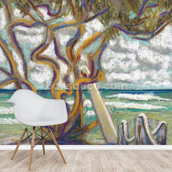 Malaekahana Tree - Surfboard wallpaper mural room setting