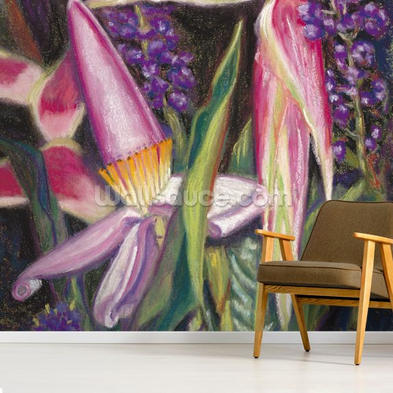 Bloomin Banana - Pink Banana Blossoms wallpaper mural room setting