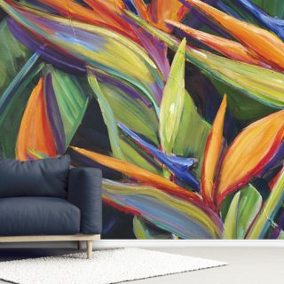 Dancing Birds - Bird Of Paradise Flowers Wallpaper Wall Murals