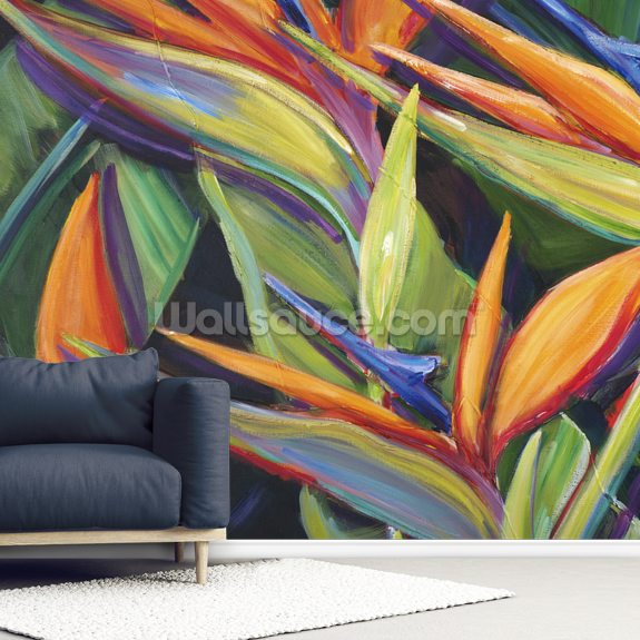 Dancing Birds - Bird Of Paradise Flowers wall mural room setting