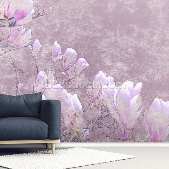 Flower Blossoms On Tree Branch wallpaper mural room setting