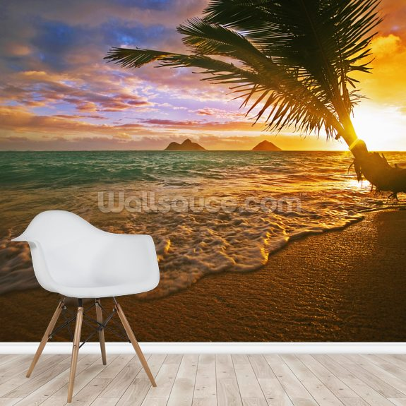 Lanikai Beach at Sunrise, Hawaii mural wallpaper room setting