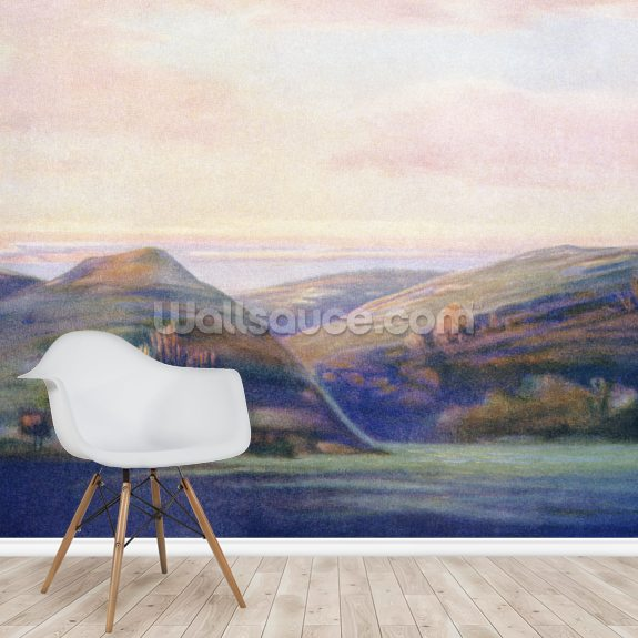 Mountains And Ocean At Sunset - C.1935, Hope Hayselden wallpaper mural room setting