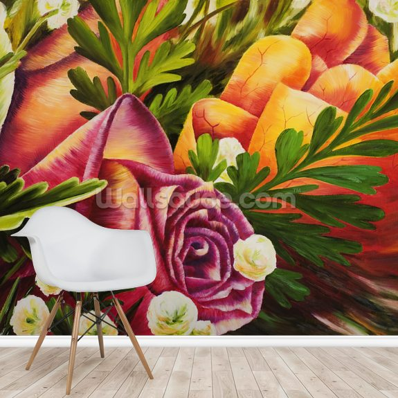 Haku Pink Rose wallpaper mural room setting