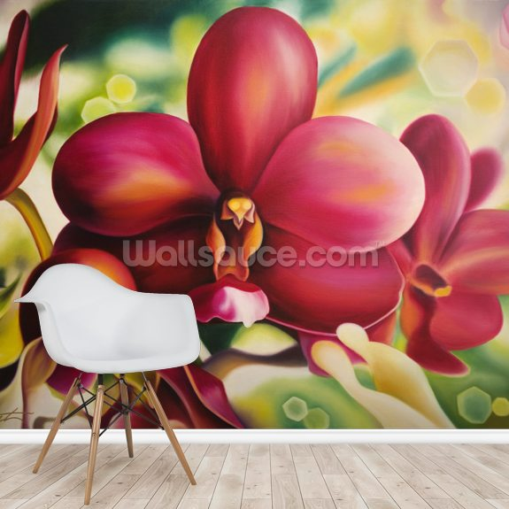 Beautiful Red Orchid mural wallpaper room setting
