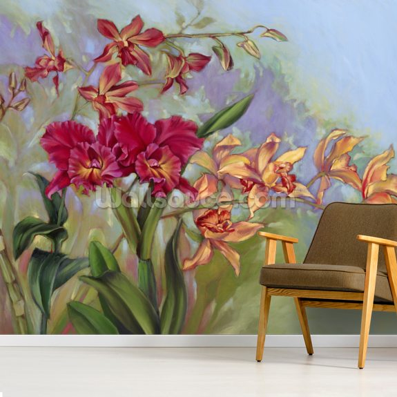 Red And Orange Orchids wall mural room setting