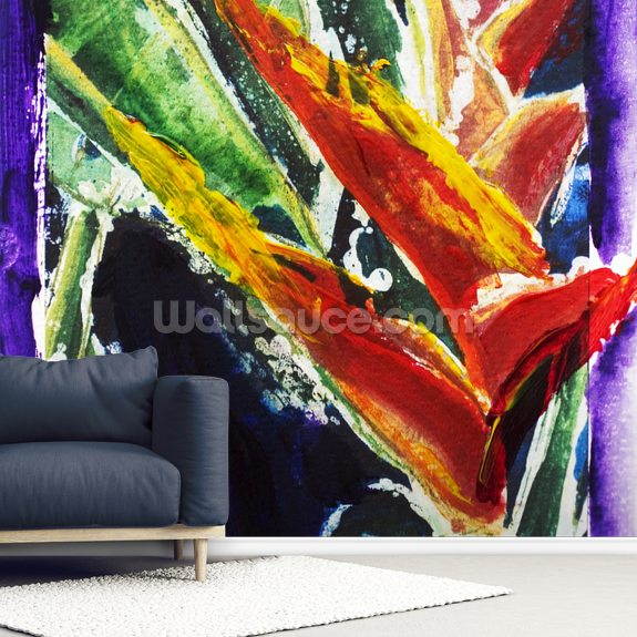 Heliconia - Batik On Rice Paper mural wallpaper room setting