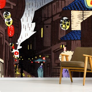 A Narrow City Street, Geisha With Parasols.