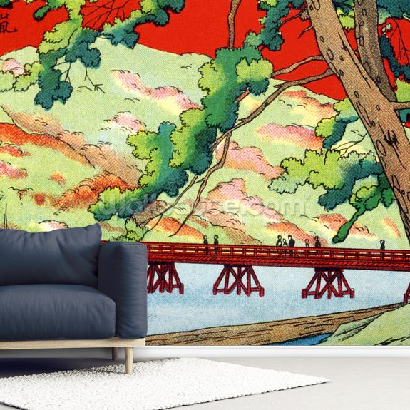 Japan Vintage - Illustration Of Bridge wallpaper mural room setting