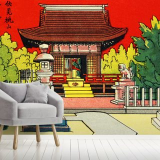 Japan Vintage - Illustration Of A Shrine In A Garden