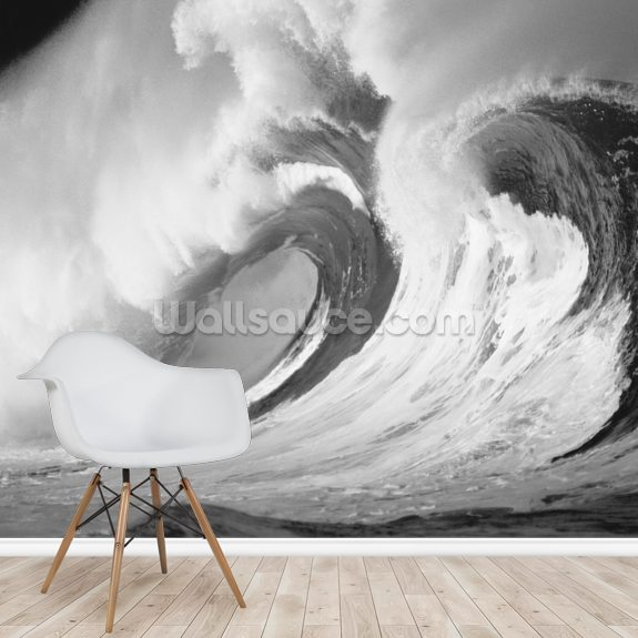 Stormy Ocean Wave Barrel wallpaper mural room setting