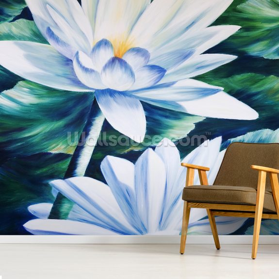 White Waterlilies In Pond - Oil Painting wall mural room setting