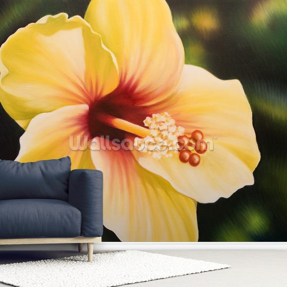 Yellow Hibiscus - Oil Painting wallpaper mural room setting