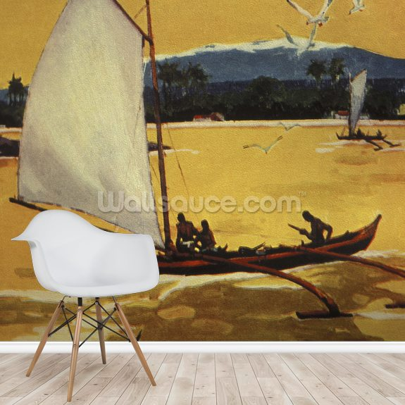 Outrigger Sailing Canoe Off Shore - C.1922 mural wallpaper room setting