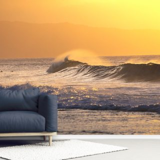 Wave At Sunset With Spray