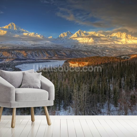 View of the Chugach Mountian Range at Sunset mural wallpaper room setting