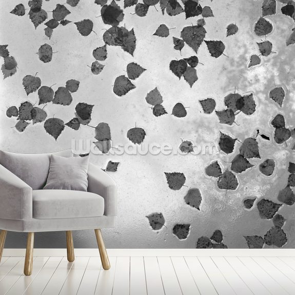 Fall Leaves Laying on Glass Roof mural wallpaper room setting