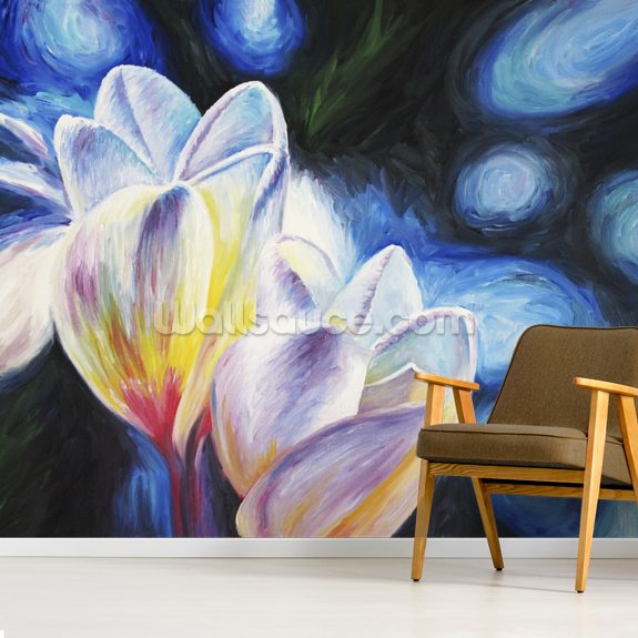 Rainy Day Lovers, Two Plumeria blossoms mural wallpaper room setting