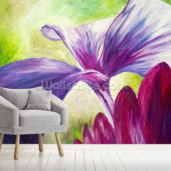 Abstract Painting of Pink and Purple Flowers mural wallpaper room setting