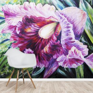 Abstract Pink And Purple Orchid - Oil Painting Wallpaper Wall Murals
