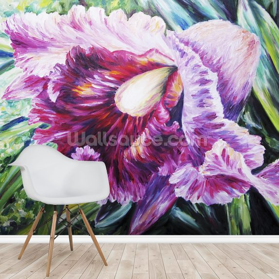 Abstract Pink And Purple Orchid - Oil Painting mural wallpaper room setting
