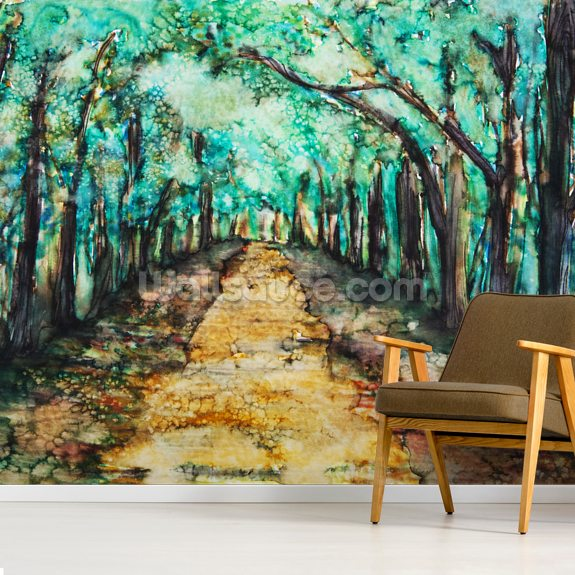 Watercolour Painting of a Path Lined with Trees wallpaper mural room setting