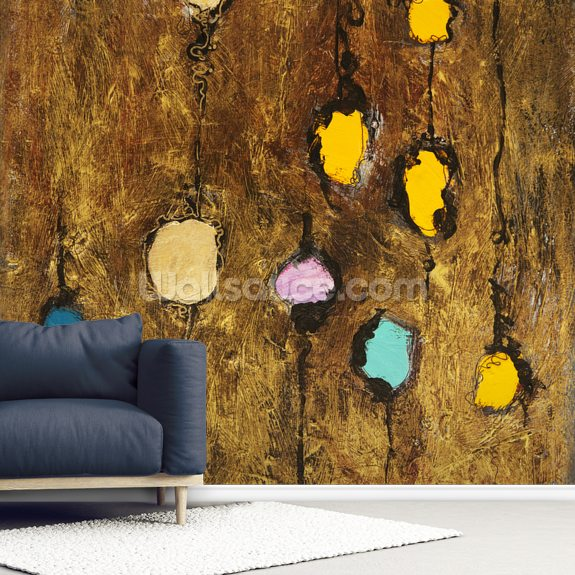 Abstract Artwork of Colourful Circles wallpaper mural room setting