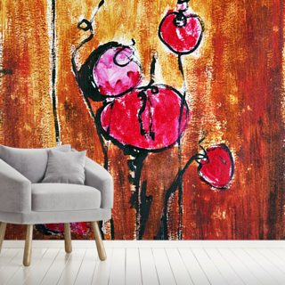 Abstract Painting with Buds in Shades of Red