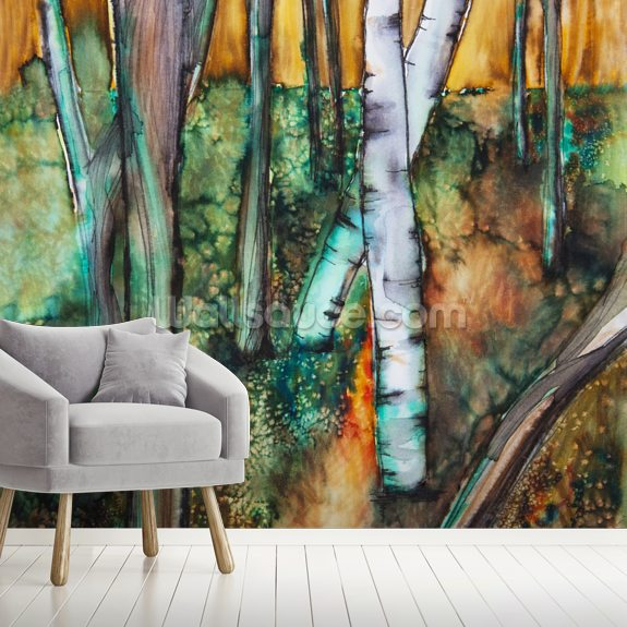 Watercolor Painting of a Colorful Forest wall mural room setting