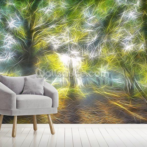 Light Misty Trees Wall Mural Wallsauce No