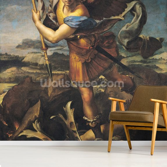 St. Michael Overwhelming the Demon, 1518 (oil on canvas) wall mural room setting