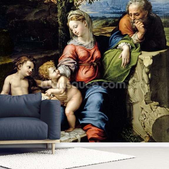 The Holy Family of the Oak Tree, c.1518 (oil on panel) wall mural room setting