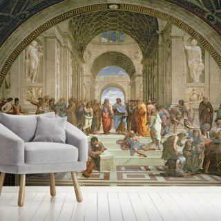 School of Athens, from the Stanza della Segnatura, 1510-11 (fresco) Wallpaper Wall Murals
