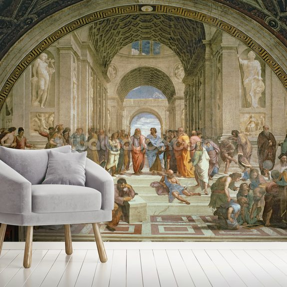 School of Athens, from the Stanza della Segnatura, 1510-11 (fresco) wall mural room setting