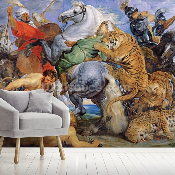 The Tiger Hunt, c.1616 (oil on canvas) wallpaper mural room setting