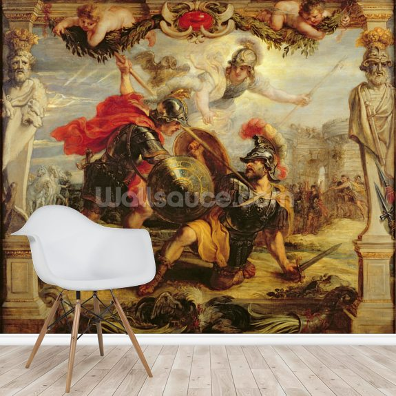 Achilles Defeating Hector, 1630-32 (oil on panel) wall mural room setting