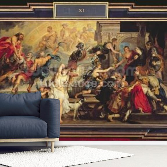 The Apotheosis of Henri IV and the Proclamation of the Regency of Marie de Medici, 1622-25 (oil on canvas) wallpaper mural room setting
