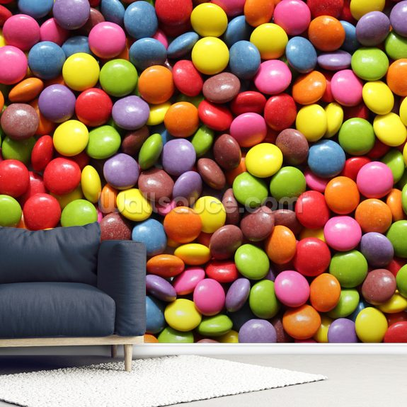 Colourful Sweets wallpaper mural room setting