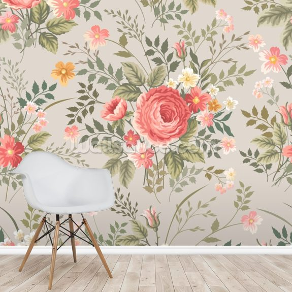 Roses Pattern wall mural room setting