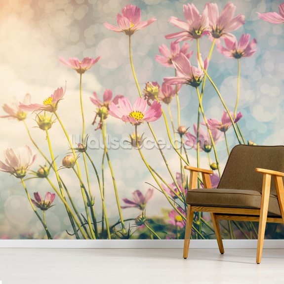 Cosmos Flower with Vintage Tones wallpaper mural room setting