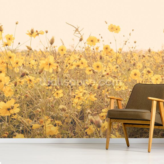 Vintage Yellow Flower Meadow Wallpaper Mural